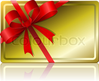 Blank golden gift card with ribbon isolated on white background.