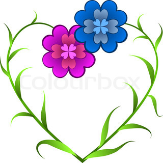 Vector card with flowers forming heart shape symbolizing love in outline drawing style.