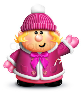 Cartoon Girl with Winter Clothes