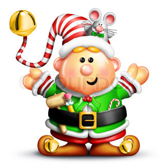 Cartoon Christmas Elf with Tools and Mouse