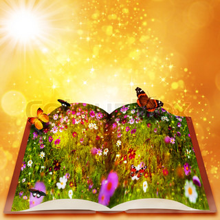 Fairy tales from magic book Abstract fantasy backgrounds with beauty bokeh