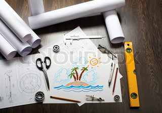 Picture of a tropical island on the table with tools