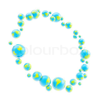 Round circle frame made of earth spheres