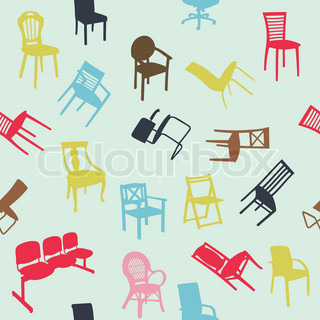 Big set of home chair silhouettes seamless pattern