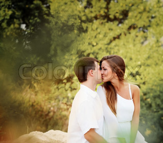 Two lovers in forest
