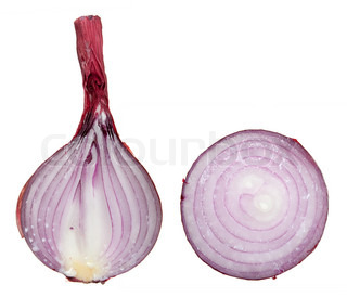 The sliced red onion