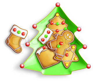 Cartoon Gingerbread Cookies in Tree Dish