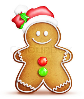 Cartoon Gingerbread Man with Santa Hat