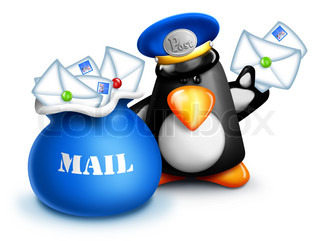 Cartoon Penguin Mailman with Letters and Mail Bag