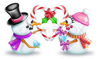 Cartoon Boy and Girl Snowman Holding Candy Cane Heart