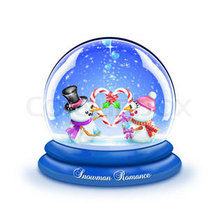 Snow Globe with Boy and Girl Snowman Holding Candy Can Heart