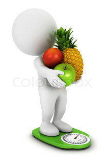 3d white people fruit diet on a green scales, isolated white background, 3d image