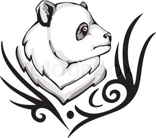 Tattoo with panda head. Color vector illustration.
