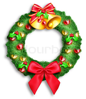 Christmas Wreath with Bows, Bells and Balls