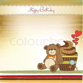 birthday greeting card with cupcake and teddy bear