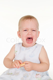 Crying girlon a white background