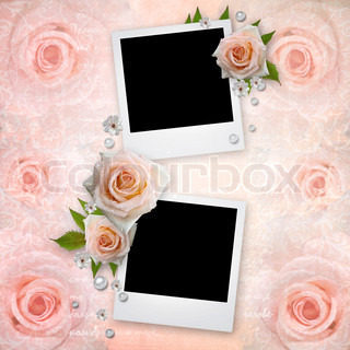 Photo Frames with pink roses and pearls