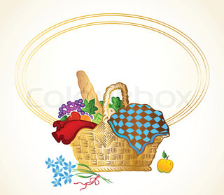 Bunch of food in the basket Vector background