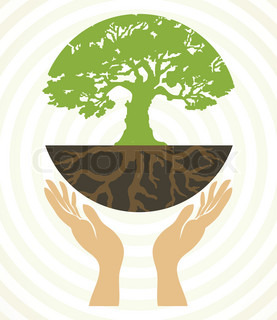 Tree icons with hands Vector