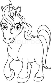 outlined coloring page cute unicorn