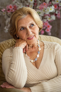 Beauteous Older Lady Resting Stock Photo Colourbox