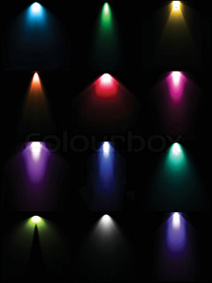 Set colorful lamp light Vector light sources