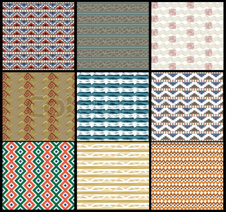 Set tribal Seamless vector background