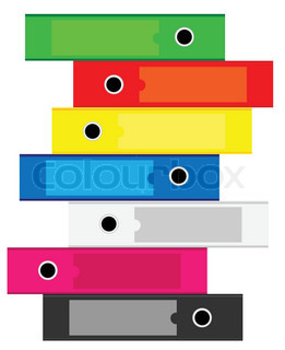 Illustration of Office folders for documents stacked vertically on a white background