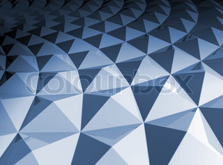 Blue shining bright square pyramidal cellular curved surface