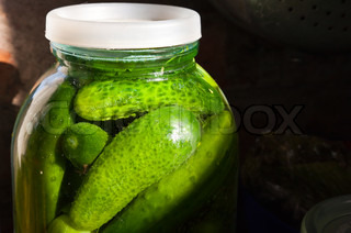 Home cooking object Glass jar with fresh salted cucumbers
