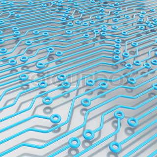 Microcircuit blue chip scheme over metal surface as technology and science abstract background