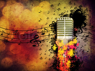 Abstract illustration of 3d microphone on grunge background