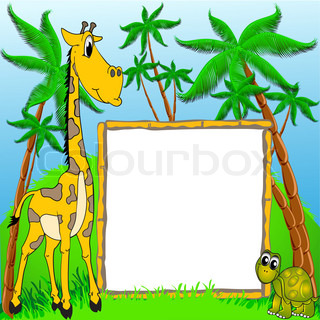 background giraffe and terrapin on background of the palms