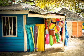 Beach shop in tropical scenery