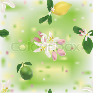Lemon and lime fruits and flowers in seamless pattern