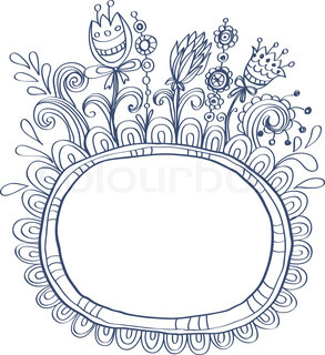 Doodle frame with birds and flowers for your design