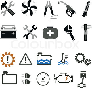 Car mechanic and service tools icons