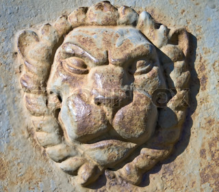 Metal Lion head on the wall