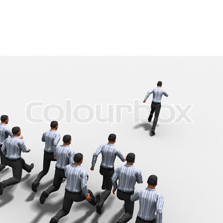 Group of the businessman runs on white background