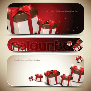 Set of three banners with gifts Vector illustration