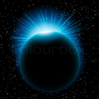 Blue sun beams over planet