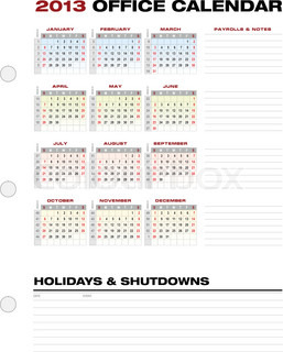 2013 Accounting Calendar with week numbers