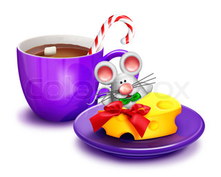 Christmas Mouse with Cheese and Cocoa