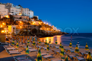 Evening view of the Italian city of Sperlonga