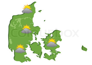 Denmark map with cloudy weather