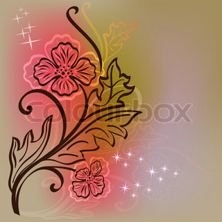 Floral vector card with flower outline on colorful background.