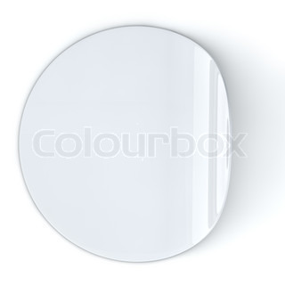 Blank white round sticker with curled edge.