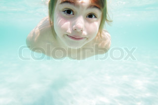 Young girls swimming topless what words