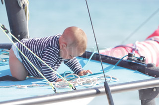 baby on board of sea yacht