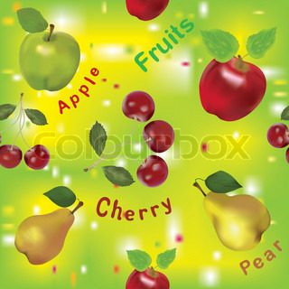 Seamless fruits composition with apples, pears and cherry